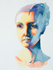 hand drawn watercolor portrait of serene woman