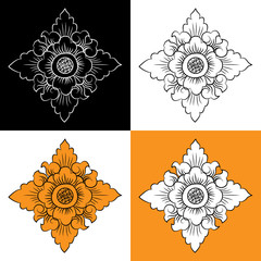 Vector set with abstract floral elements in Thai style
