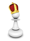 White pawn with a king crown