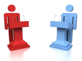 3D people opponents in a debate over a white background