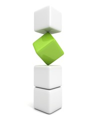 One individuality green cube in white stack tower