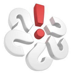 set of question marks with solution red exclamation mark