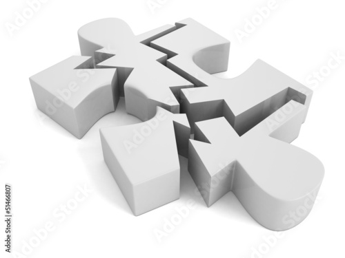broken puzzle on a white background