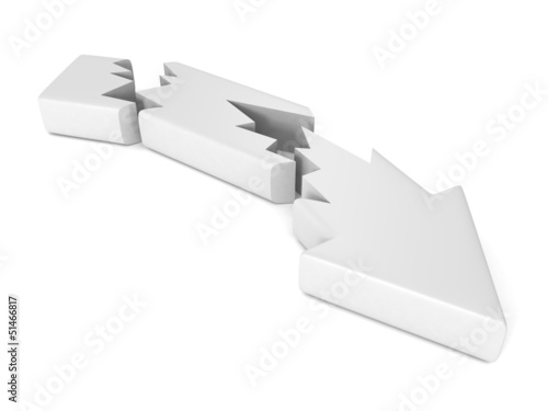 Broken cracked crisis white arrow on white background