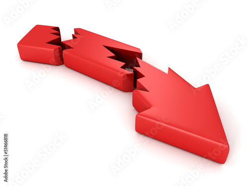 Broken cracked crisis red arrow on white background