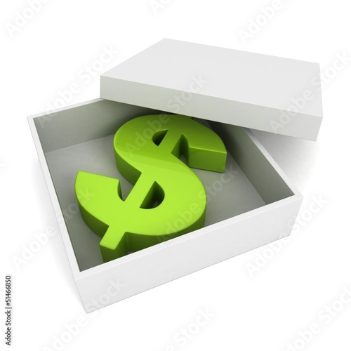 green dollar symbol inside opened white box