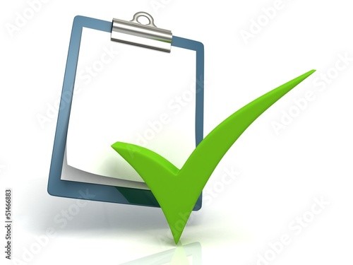 paper office tablet with green check