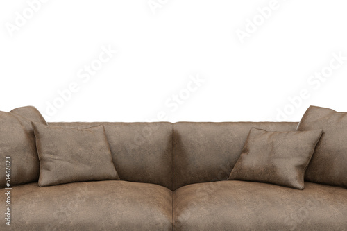 Sofa made of worn leather closeup