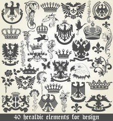 Set of heraldic elements for design