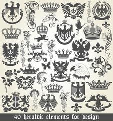 Set of heraldic elements for design