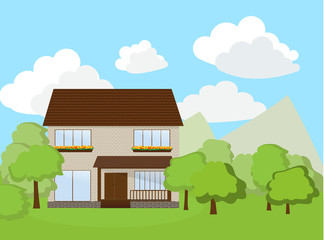 House with landscape background