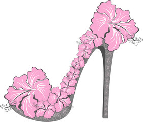 Shoes on a high heel decorated with hibiscus