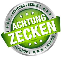 """Button Banner """"Achtung Zecken"""" gruen/silber"""
