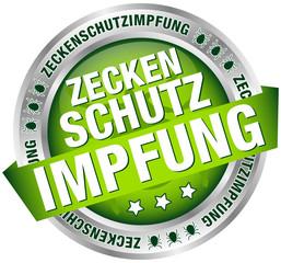 """Button Banner """"Zeckenschutzimpfung"""" grün/silber"""