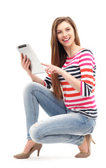 Beautiful woman with digital tablet
