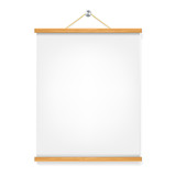 vertical wooden placard with blank sheet of paper