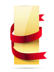 vertical shiny golden card with red ribbon