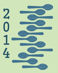 A 12 month novelty spoon calendar for 2014