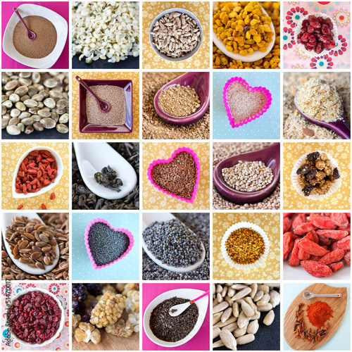 Naturopathie : Assortiment d'aliments (graines, fruits...)