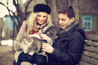 Happy Young Couple With A Cat ...