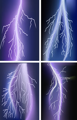 four lightnings in lilac sky