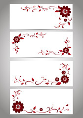 Frames with red flowers. EPS 10