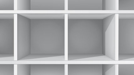 Empty white shelves, front view