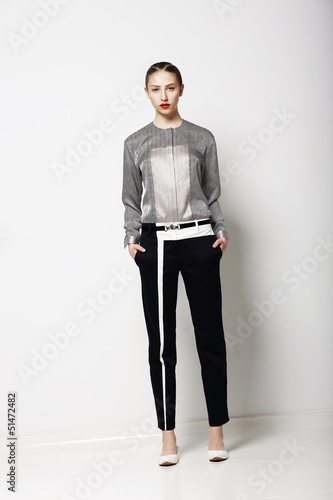Fashion Model in Modern Costume. Spring Time Collection. Trend