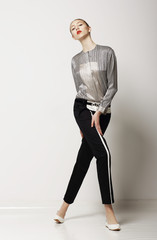 Sporty Slim Woman in Black Pants - Summer Collection. Glamor