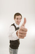 man gesturing thumbs up wide
