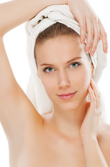 Smooth armpit after epilation treatment, isolated on white