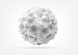 abstract rumpled sphere with triangular faces for graphic design