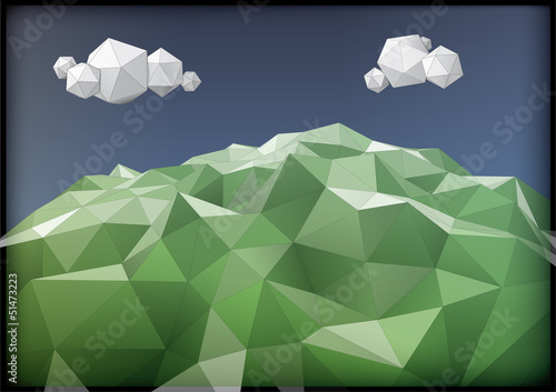 landscape low-poly style illustration