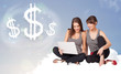 Young women sitting on cloud next to cloud dollar signs