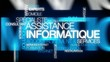 Assistance informatique internet service nuage de mots animation