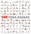 Leinwandbild Motiv 100 yoga poses on white background