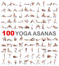 100 Yoga-Posen auf weißem Hintergrund