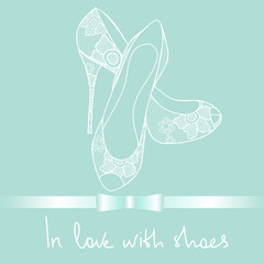 Background of lace pair of shoes