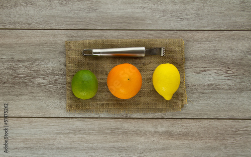 Lime, Orange, Lemon and zester
