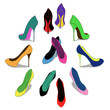 Isolated colorful fashion women shoes