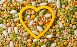 Mixed grains and beans with heart