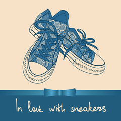 Background of lace pair of sneakers