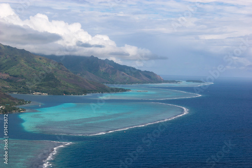 Coastline of Moorea, French Polynesia, surrounded by coral reefs