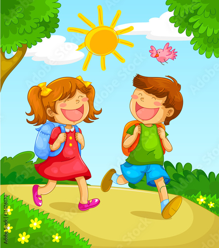 two children going to school