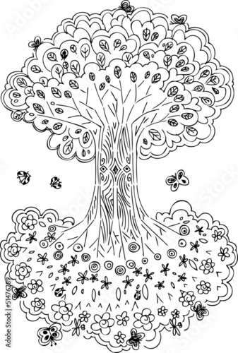 Tree of life with flowers and fruits  Can see it upside down