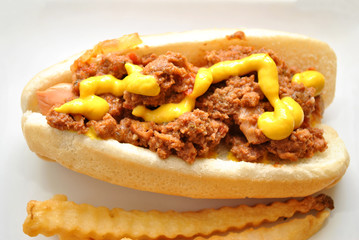 Chili Dog with Mustard
