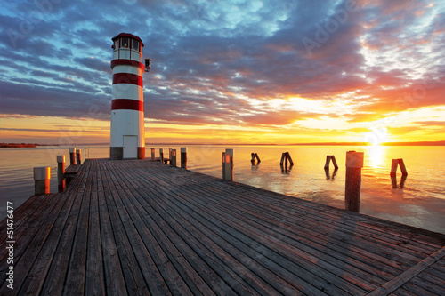 Lighthouse at Lake Neusiedl at sunset