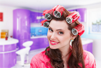 Housewife with curlers