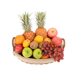 Tropical fruits isolated on white