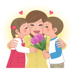 母の日 Boy and girl kissing mom
